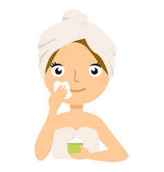 woman putting on cream on her face isolated on vector image