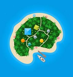 Cartoon color tropical island in water vector