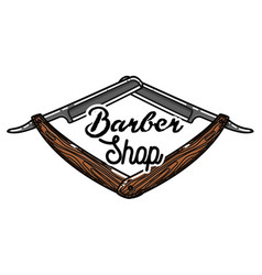 color vintage barber shop emblem vector image vector image