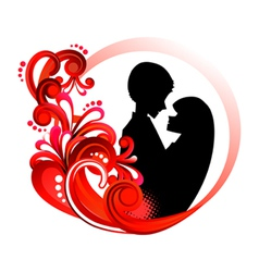 Couple in red floral frame vector image