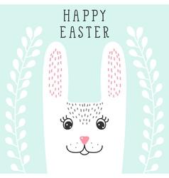 Funny bunny rabbit head in floral wreath Happy vector image