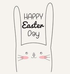 Happy easter day with easter rabbit vector