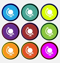 icon world sign Nine multi colored round buttons vector image vector image