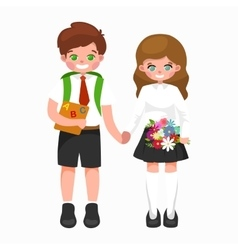 little girl and boy with school backpack books vector image vector image