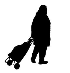 old woman silhouette with luggage vector image vector image