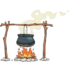 pot over the fire vector image vector image