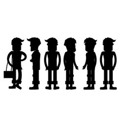 set of hipster characters silhouettes vector image