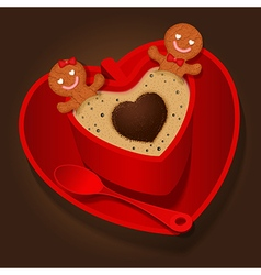 loving couple of gingerbread in coffee cup vector image