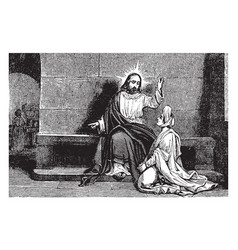 Mary sits and listens at jesus feet vintage vector