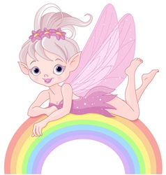 Pixie fairy on rainbow vector image