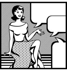 retro girl in pop art style vector image vector image