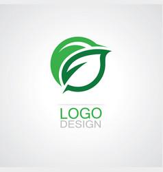 round green leaf logo vector image vector image