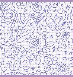 seamless pattern sketch floral bird vector image vector image