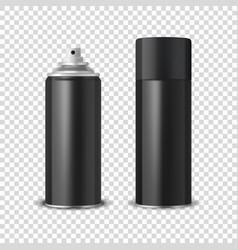 3d realistic black blank spray can spray vector