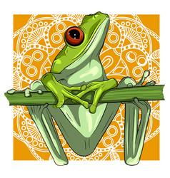 a cartoon green frog drawing vector image