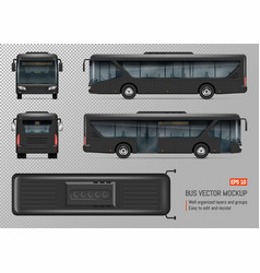Black bus template vector