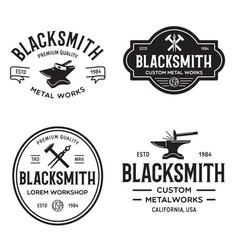 Blacksmith labels set design elements vector