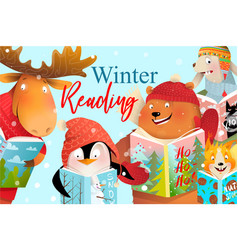 Book cover kids animals read and study in winter vector