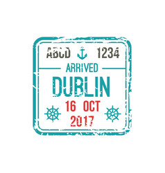 border control stamp in dublin airport visa mark vector image