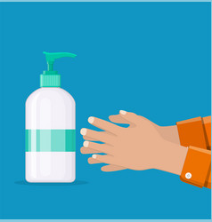bottle with liquid soap and hands vector image