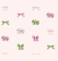Bow seamless pattern girlish fashion white vector