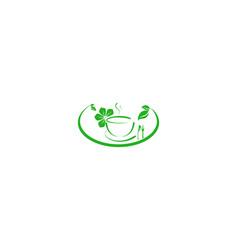 bowl spoon eco healthy food logo designs vector image