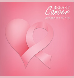 breast cancer month card pink love support ribbon vector image
