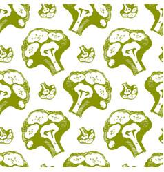 Broccoli seamless pattern colored vector