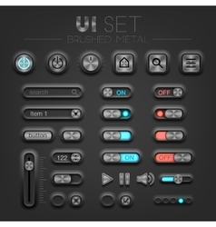 Brushed metal dark UI vector image