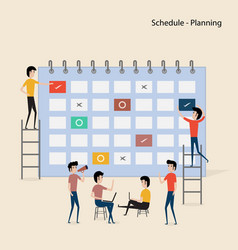 Calendar with schedule planspeople filling out vector