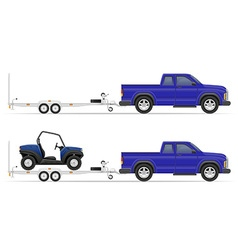 car pickup with trailer 02 vector image