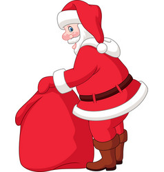 cartoon santa claus with the bag of the presents vector image