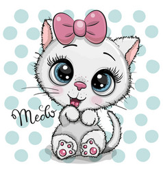 Cartoon white kitten with a pink bow on a dots vector