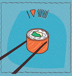 Chopsticks holding sushi roll maki vector