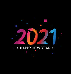 Colorful 2021 happy new year logo text design on vector