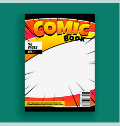 Comic book magazine cover page design template vector