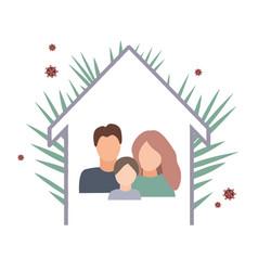 coronavirus quarantine concept with family staying vector image