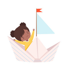 cute arican american girl sailing on a paper boat vector image