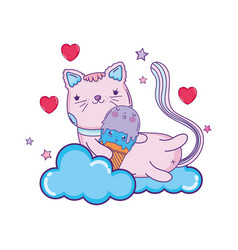 cute cat with ice cream vector image