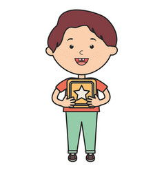 cute little boy with cube block vector image