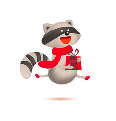 Cute raccoon with gift and christmas greeting vector