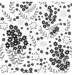 Cute seamless pattern in small flower black and vector