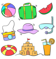 Doodle of object summer colorful vector