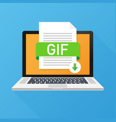 Download gif button on laptop screen downloading vector