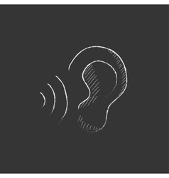 Ear and sound waves Drawn in chalk icon vector