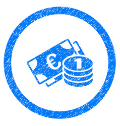 Euro money rounded icon rubber stamp vector