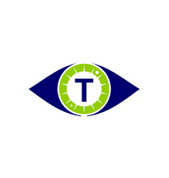 eye care solutions letter t vector image