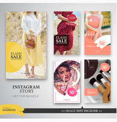 Fashion make up instagram stories template bundle vector
