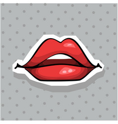 fashion patch badge with sexy lips pop art style vector image