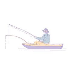 fisherman in boat with rods fishing sport or hobby vector image